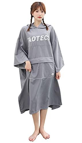 TaoTech サーフポンチョ タオル 着替えポンチョ フード付き 吸水 防寒 ポケット付き コンパクト収納 ユニセックス  (グレー, レギュラー/大人)