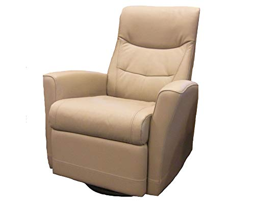 Fjords Oslo Small Swivel Relaxer Recliner Lounge Power Electric Ergonomic Reclining Chair Stone NL 130 Nordic Line Leather by Hjellegjerde