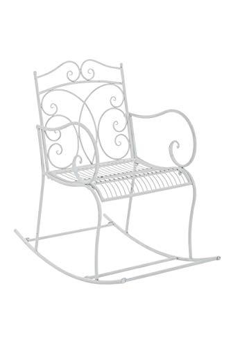 CLP Eisen-Schaukelstuhl Edith im Landhausstil I Schwingstuhl mit hoher Rückenlehne I erhältlich, Farbe:antik weiß