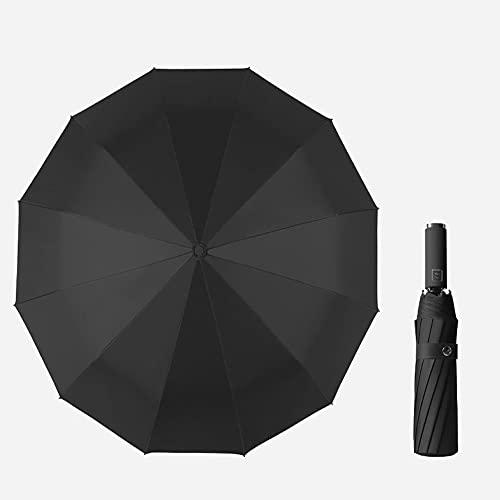 negro,Paraguas de viaje plegable a prueba de viento Se cierra automáticamente Se abre automáticamente Diseño liviano Paraguas compacto, fácil de transportar, asa antideslizante con 12 varillas