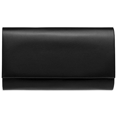 Caspar TA412 Damen große Metallic Clutch Tasche Abendtasche, Farbe:schwarz, Größe:One Size