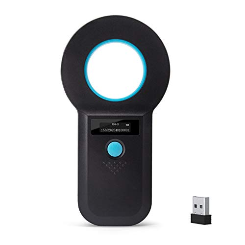 Bluetooth Animal Microchip Tag Reader Scanner, Symcode Wireless RFID EMID Animal Handheld Reader Pet ID Scanner Rechargeable Animal Chip Scanner Pet Tag Scanner FDX-B(ISO 11784/11785) ID64 RFID