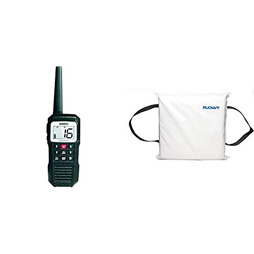 Uniden Atlantis 155 Handheld Two-Way VHF Marine Radio, Floating IPX7 Submersible Waterproof, Dual-Color Screen, 10 Hour Battery & Flowt 40104 Type IV Throwable Floatation Foam Cushion, White