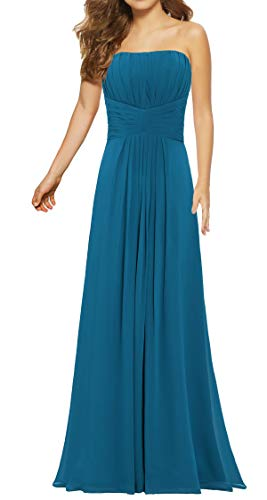ANTS Women's Strapless Long Chiffon Bridesmaid Dresses for Weddings Size 12 US Teal Blue