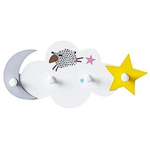 Dake Perchero de Pared Perchero de Infantil de Madera, con 4 Ganchos Redondos, Decoracion Pared Gancho de Pared, Colgador de Puerta con Nubes, Estrellas y Luna Blanco