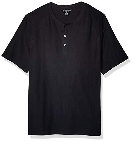 Amazon Essentials - Camiseta de manga corta con corte recto y cuello panadero hecha de algodón flameado para hombre, Negro, US S (EU S)