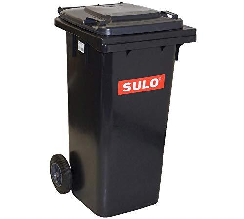 SULO 120 Liter Müllbehälter Mülltonne Abfalltonne | Grau | Für alle DIN-Klammschüttungen | Made in Germany | Extra Starker Kunststoff | Leise Vollgummiräder | Leicht zu Reinigen | UV-Fest | Rost Fest | Verrottungsfest