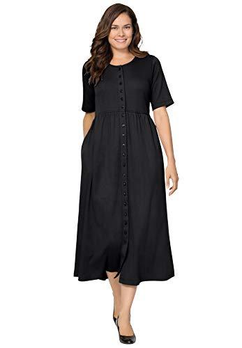 Woman Within Women's Plus Size Button-Front Essential Dress - 6X, Black