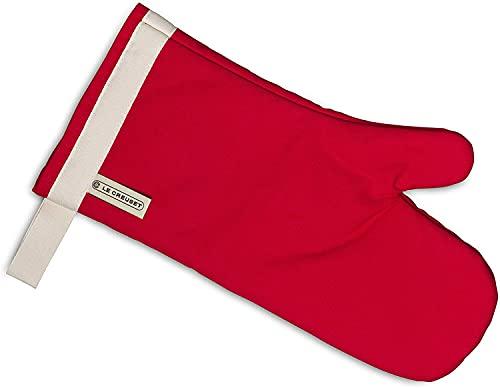Le Creuset Gant de Four à Manche Extra Longue, Taille Unique, Rouge Cerise / Blanc, en Coton