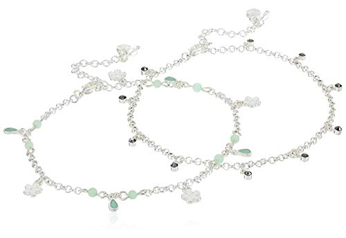 Lucky Brand Jewelry Flower & Pave Bar Anklet, Silver (JWEL4345), One Size