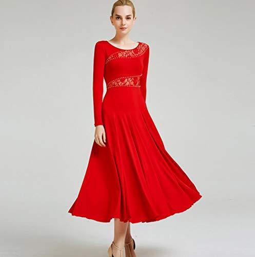 SMACO Ballsaal, Tanzkleid, Turnierkleid, Standard-Tanzkleid, Damen, Ballsaal-Kleid S rot