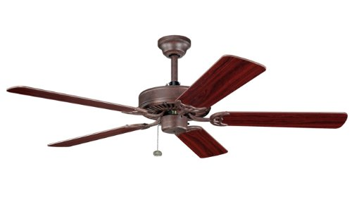 Kichler 339010TZ Sterling Manor 52IN Energy Star Ceiling Fan, Tannery Bronze Finish with Reversible Teak/Cherry Blades