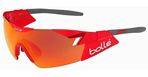 bollé 6th Sense Gafas de Sol Deportivas, Unisex, Rojo Brillante/Gris, Talla M/L