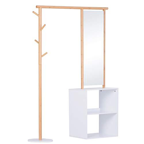 Porte-manteaux meuble d'entrée vestiaire penderie avec miroir 4 patères 2 niches dim. 100L x 34l x 164H cm MDF blanc bois massif bambou