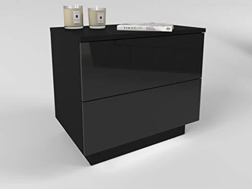Lukmöbel Nachttisch Lina mit Schubladen und LED Beleuchtung Push to Open System Schwarz Hochglanz HG Schlafzimmer Nachtkonsole Nachtschrank Beistelltisch (schwarz/schwarz Hochglanz)