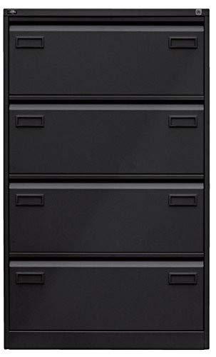 Bisley LIGHT Light Hängeregistraturschrank, doppelbahnig, DIN A4, 4 HR-Schubladen, Stahl, 633 Schwarz, 62.2 x 80 x 132.1 cm