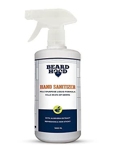 Beardhood Hand Sanitizer Liquid Spray, With 80% Alcohol 1000ml | Multipurpose Instant Hand Rub and Surface Disinfectant | Safe on Skin | Rinse Free Instant Protection From Germs & Bacteria | Kills 99.9% Germs