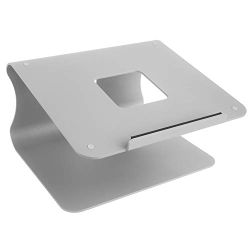 mStand Laptop Ständer - Mit Regen Minimal Design - Für Laptop, Macbook, Notebook - Haltbares Aluminium Material mit verstellbarem Laptop Riser - Ergonomisch und praktisch für Ihre Workstation (Silber)