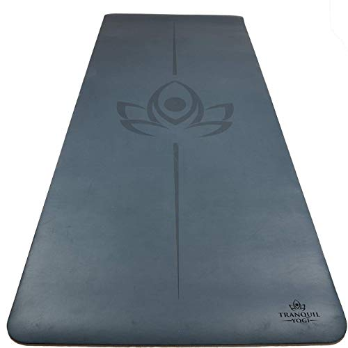 Tranquil Yogi Natural Yoga and Exercise Mat  Excellent Grip and Joint Protection Includes Carry Strap Midnight Blue