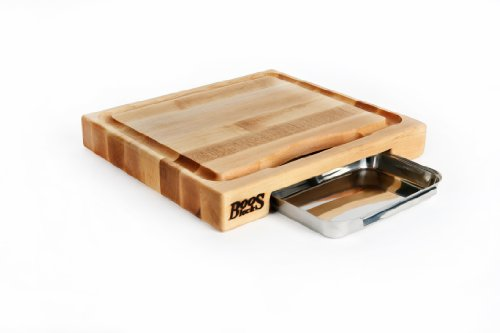 John Boos Block PM1514225-P Newton Prep Master Maple Wood Reversible Cutting Board with Juice Groove and-Pan 15 Inches x 14 Inches x 225 Inches
