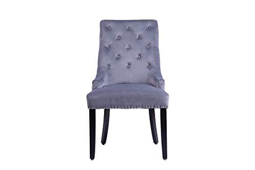 Slate and Rose Un par de sillas de comedor Louis con respaldo alto tapizado de terciopelo gris con c