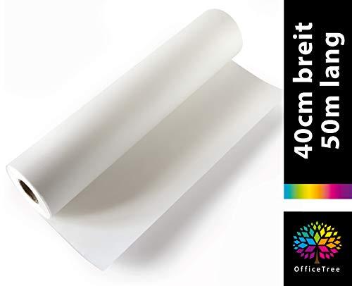 OfficeTree 50 m Rollo de Papel para dibujo 40 cm ancho - 50 g/qm Calidad premium - Blanco - Papel de dibujo para dibujo técnico