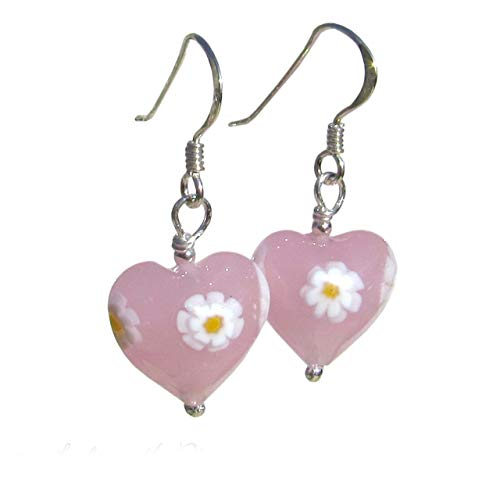 Pink MURANO Glass Heart Daisy Earrings 12mm. Sterling Silver Drops. Gift Wrapped Jewellery by Lesley