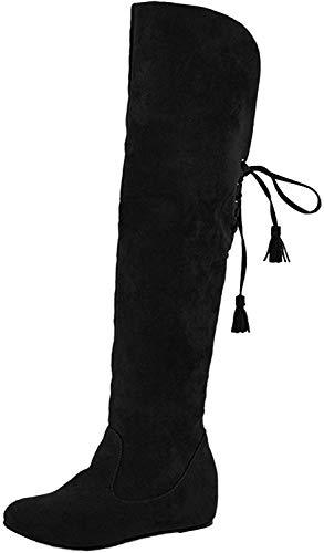 Minetom Mujer Invierno Moda Calentar Botas De Nieve Slouchy Botas De Piel Cargadores De La Rodilla (EU 38, Negro)