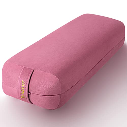 Trideer Yoga Bolster Pillow Meditation Pillow, Bolster Pillow for Legs for Restorative Yoga, Rectangular Yoga Bolster with Soft Velvet and Machine Washable Cover, 800g Lightweight with Handle
