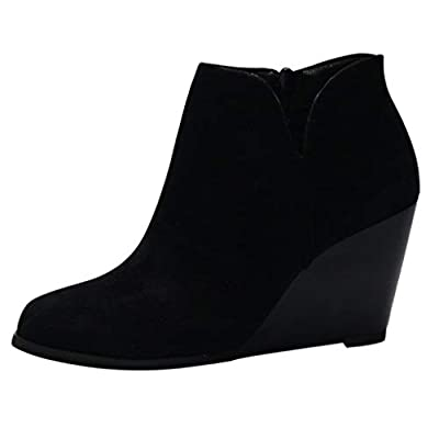 2020 Fashion Low Wedges Ankle Boots,QueenMM????Womens Casual Suede Side Zipper Comfort Booties Black