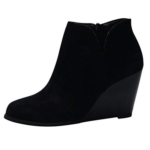 Bottine A Talon Compensé Femme en Daim Chaussures...