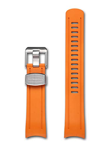 CRAFTER BLUE CB05 Curved End Watch Band Quick Release Soft Rubber Strap Replacement for Seiko Skx Series SKX007, SKX009 and SKX011 and Sports 5 Series: SRPD51K1, SRPD53k1, SRPD55K1 etc - Orange