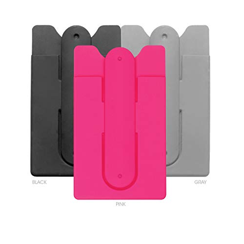 Cell Phone Wallet with Stand by Cellessentials: (for Credit Card & Id) iPhone, Android & Most Smartphones   3 Pc Pack - Black, Grey & Pink