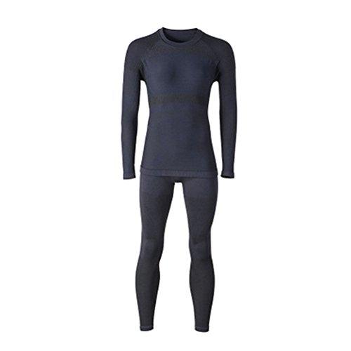 Meijunter Femmes Sport Manches Longues Couche de Base Pantalon de Ski sous-vêtements Thermiques Set Long Johns Noir S