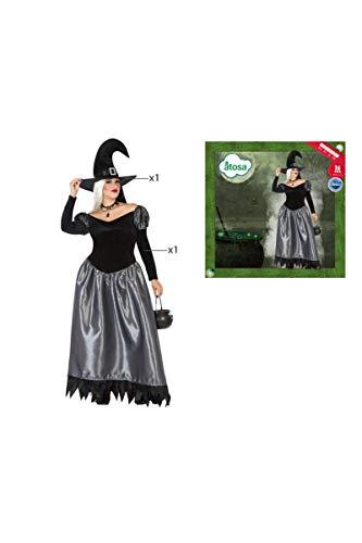 Atosa-53944 Atosa-53944-Disfraz Bruja para mujer adulto-talla XL gris, color (53944)