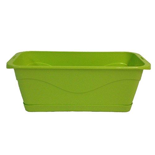 Jardinière Couleur Design FYORA en Plastique Recyclable avec Soucoupe et réserve d'eau (Vert anis, 50)