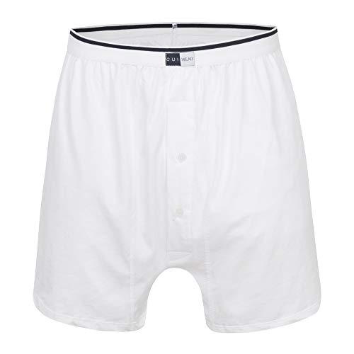 Ostomy mannelijk ondergoed met ingebouwde interne ondersteuningszak en nachtafvoer in wit - Boxershorts klein - RECHTE POCKET