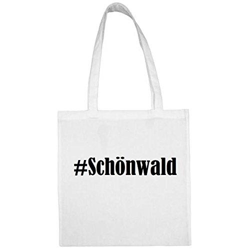 Tasche #Schönwald Größe 38x42 Farbe Weiss Druck Schwarz