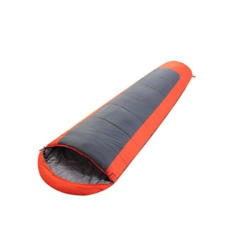 Xin.S Compact Mummy Sac De Couchage Chimique Sac De Couchage Unique En Plein Air Avec Sac De Compression Portable Camping Randonnée (bleu Et Orange),Orange-(180+30)*75cm