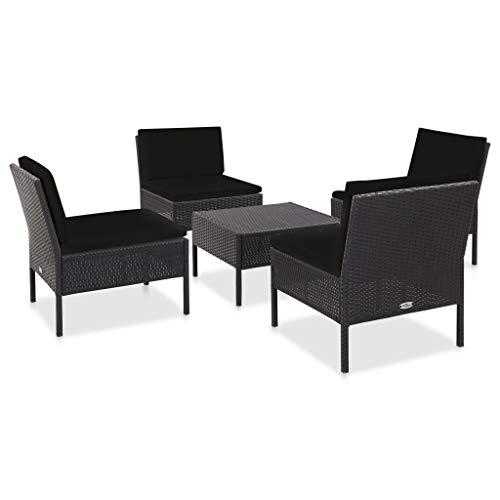pedkit Conjuntos Sofa Exterior Set de sofás de jardín 5 Piezas y Cojines ratán sintético Negro