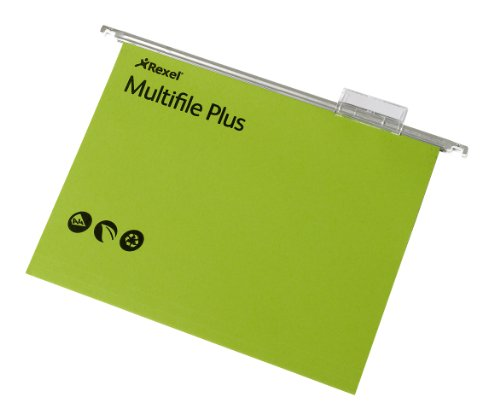 Rexel A4 Suspension Files with Tabs and Inserts for Filing Cabinets, 15 mm V-base, 100 Percent Recycled Manilla, Green, Multifile Plus, Pack of 20, 92809