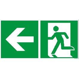Flucht und Rettungsschild ISO 7010 nachleuchtend/selbstklebend Pfeil links