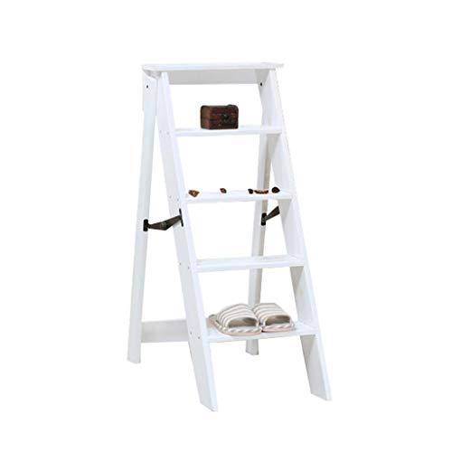 H&RB Tabouret escabeau Pliant échelle Chaise siège léger et Pliable Banc de ménage Portable, 5 Step, Max Loadable 150 kg, Blanc