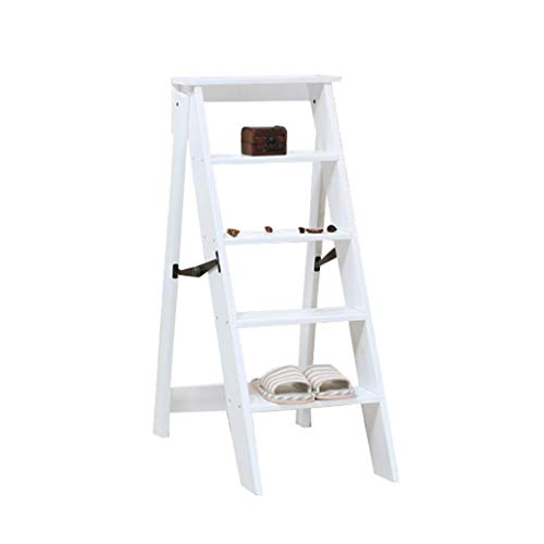H&RB Taburete Plegable del Paso de la Silla de la Escalera Asiento Ligero y Plegable portátil Banco de la casa, 5 Pasos, MAX loadable 150 kg, Blanco
