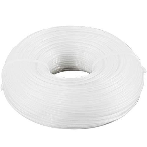 2mm*100m Bobine de Fil en Nylon, Fil Nylon pour Coupe Bordure Débroussailleuse Tondeuse à Gazon Coupe-fil Machine de Découpe de Brosse Métallique Coupe-fil en Nylon (Rond, Blanc)