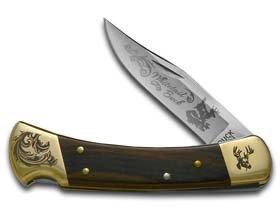 Buck 110 Wooden Whitetail Scrolled Bolster Stainless Folding Hunter Custom Knives