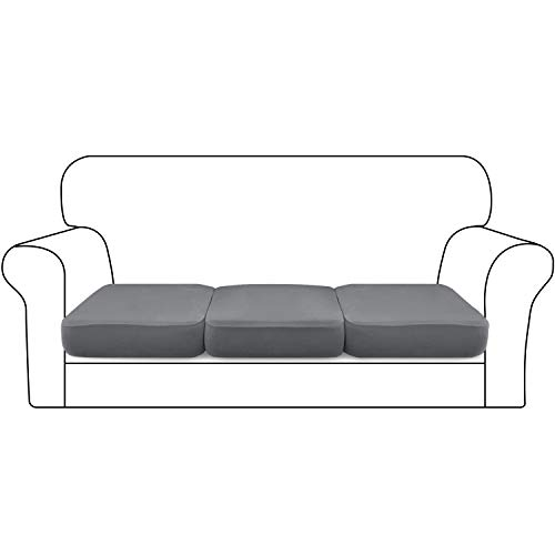 Granbest Super Stretch Velvet Sofa Cushion Covers Thickened Sofa Seat Covers Couch Cushion Cover for 3 Seater Sofa with Elastic Band Microfiber Fabric(3 Seater,Light Grey)