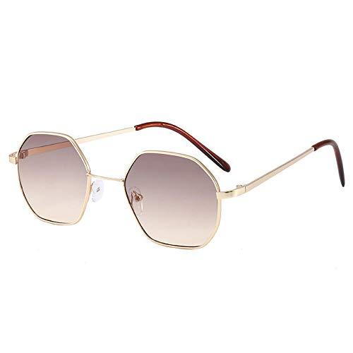 Gosunfly Gafas de sol para niños de metal poligonal, gafas de sol de montura cuadrada para niños y niñas, chips de té progresivos