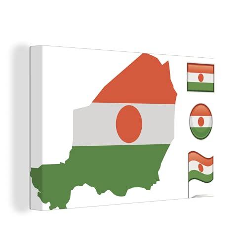 Leinwandbild - Illustration der vier Flaggen von Niger - 150x100 cm