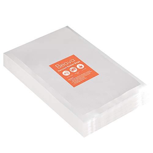Vacuum Sealer Bags 10x14 Inch Beava 100pcs Precut Vacuum Sealer Bags for food Embossed Commercial Grade Food Saver Bags for Seal a Meal Sous Vide Cooking or Meal Prep